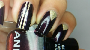 """The answer is love"" Anny and gold stripping nail art"