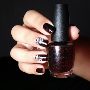 "Nail art rose au vernis sur ""Today I Accomplished Zero"" OPI - Collection Coca Cola"